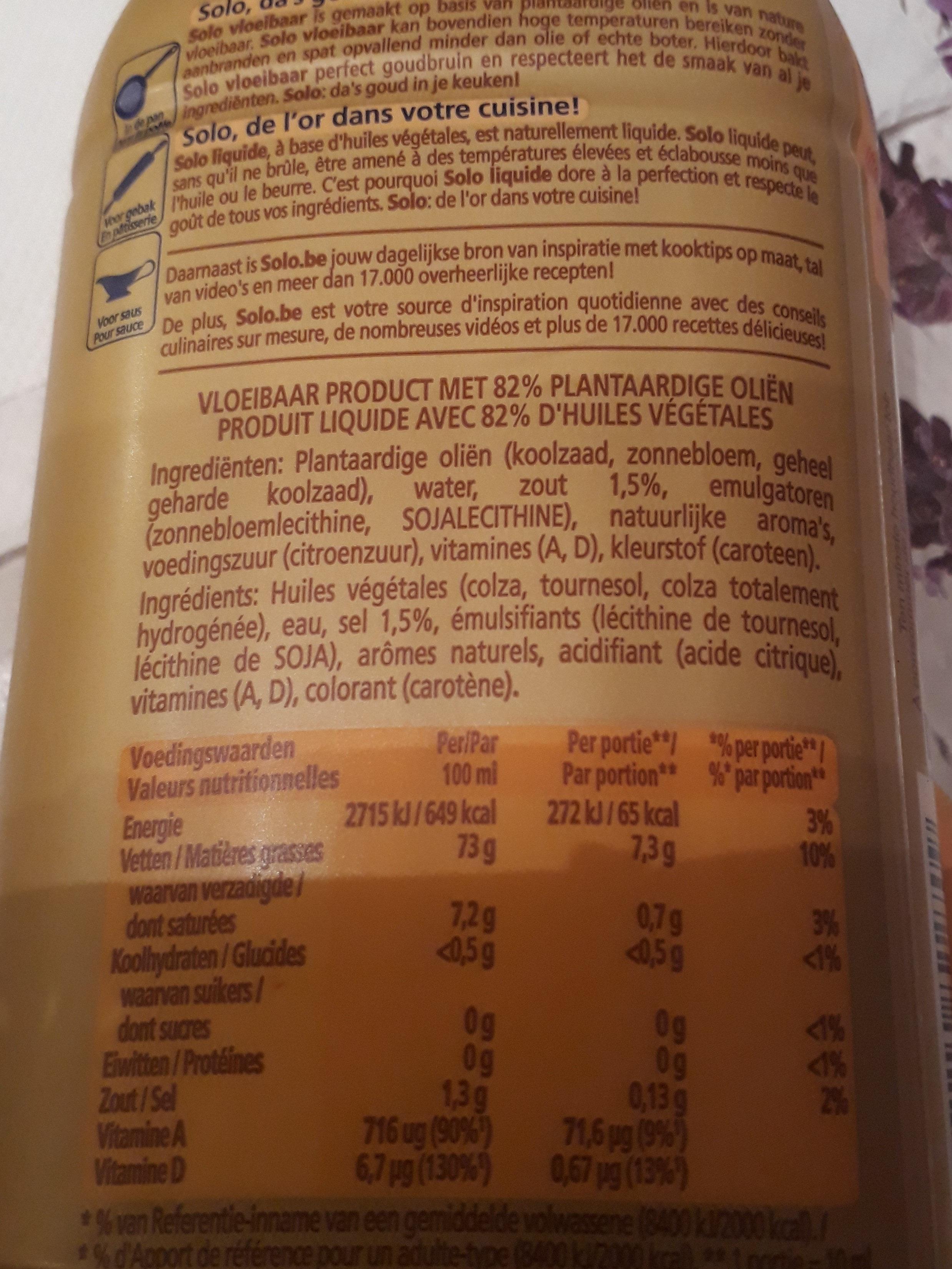 Solo liquide - Voedingswaarden