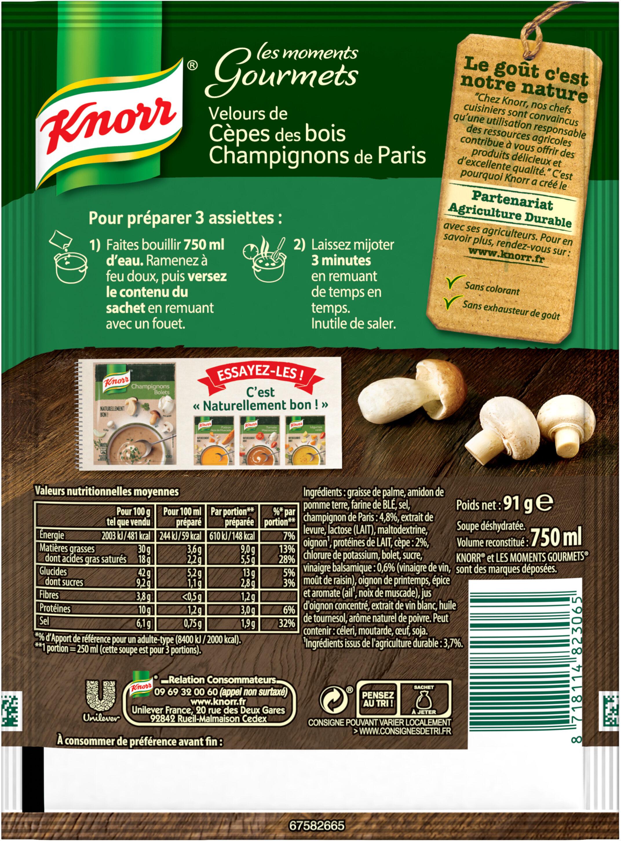 Knorr Moments Gourmets Soupe Velours de Cèpes Champignons 91g 3 Portions - Voedingswaarden - fr
