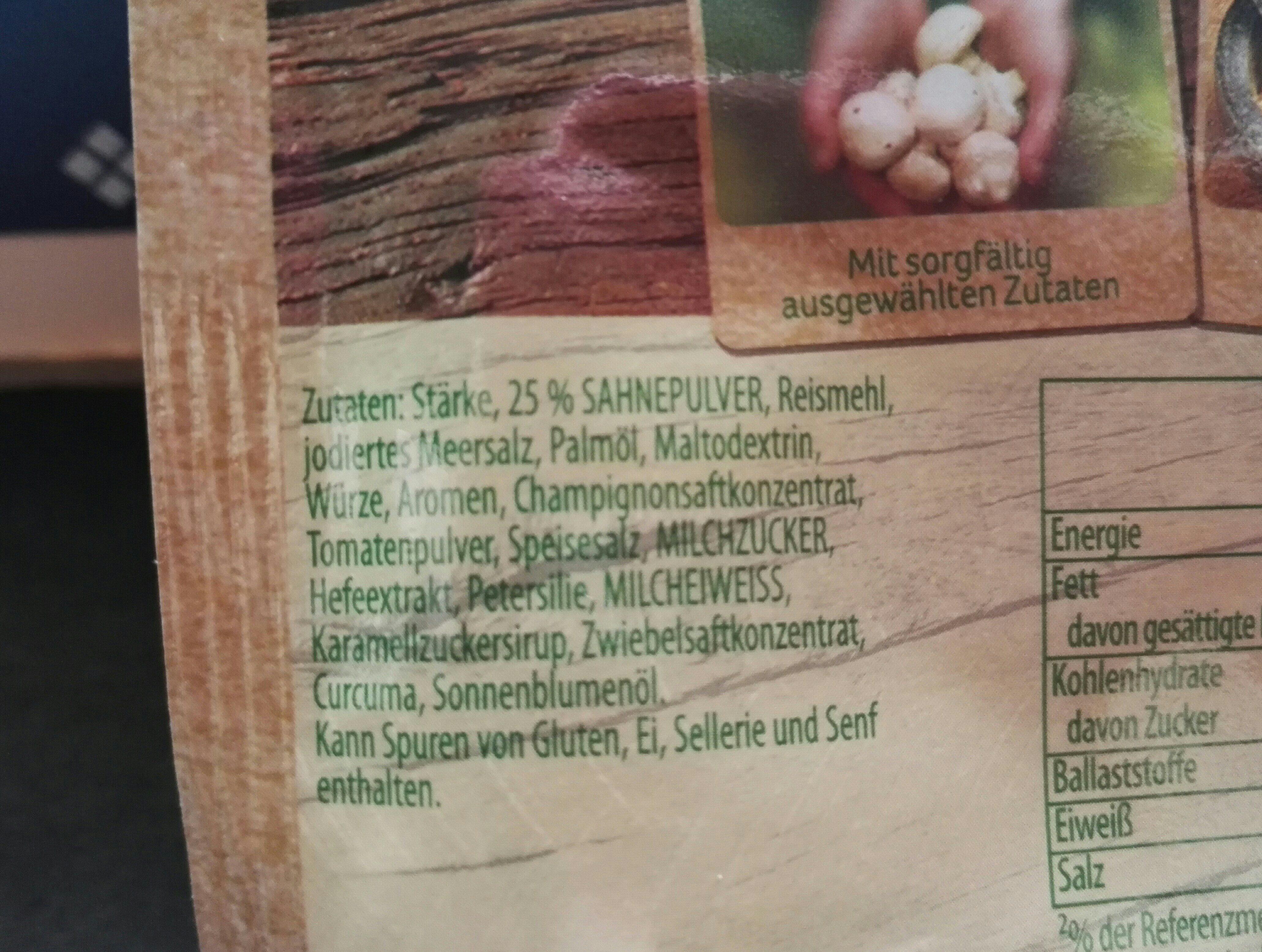 Rahm-Champignons - Ingrédients
