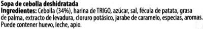 Sopa de cebolla deshidratada - Ingrédients