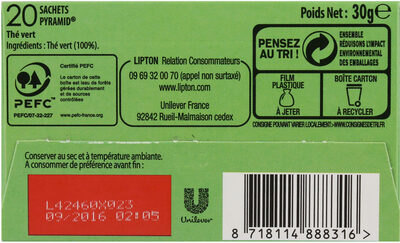 Lipton Thé Vert Nature 20 Sachets - Ingredienti - fr