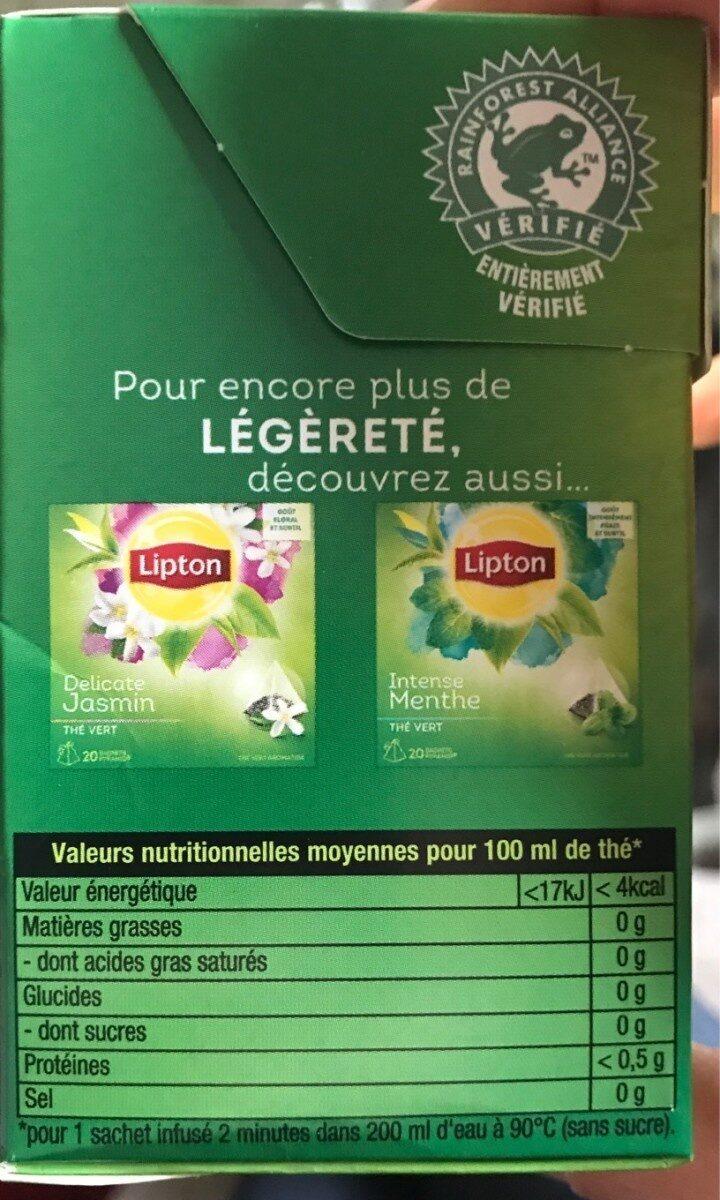 Lipton Thé Vert Nature 20 Sachets - Valori nutrizionali - fr