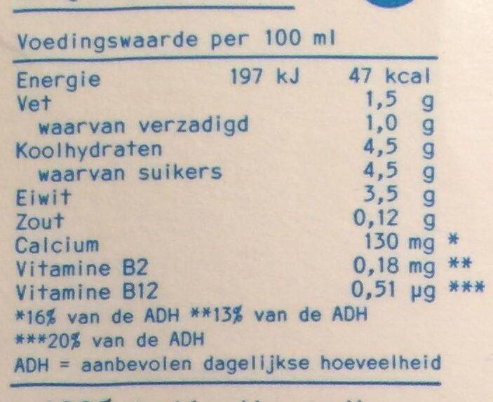 Lait demi écrémé biologique - Voedingswaarden - nl