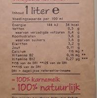 Biologische karnemelk - Voedingswaarden - nl