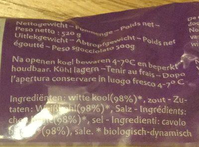 Zuurkool naturel - Ingrediënten