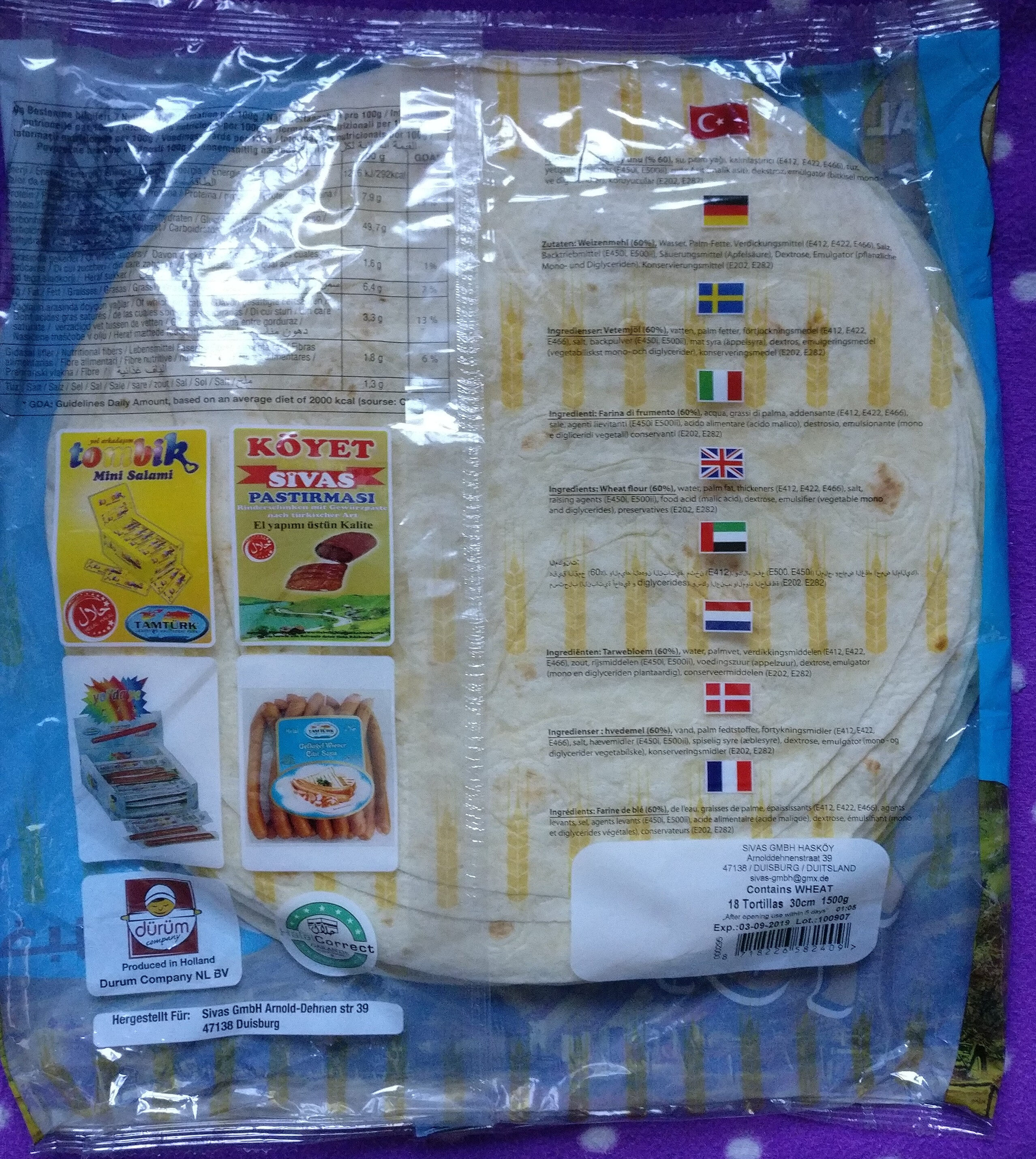 Dürüm Tortillas - Nährwertangaben - de