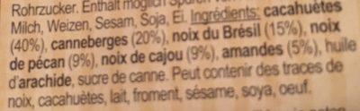 Cranberry Nuss Mischung - Ingredients