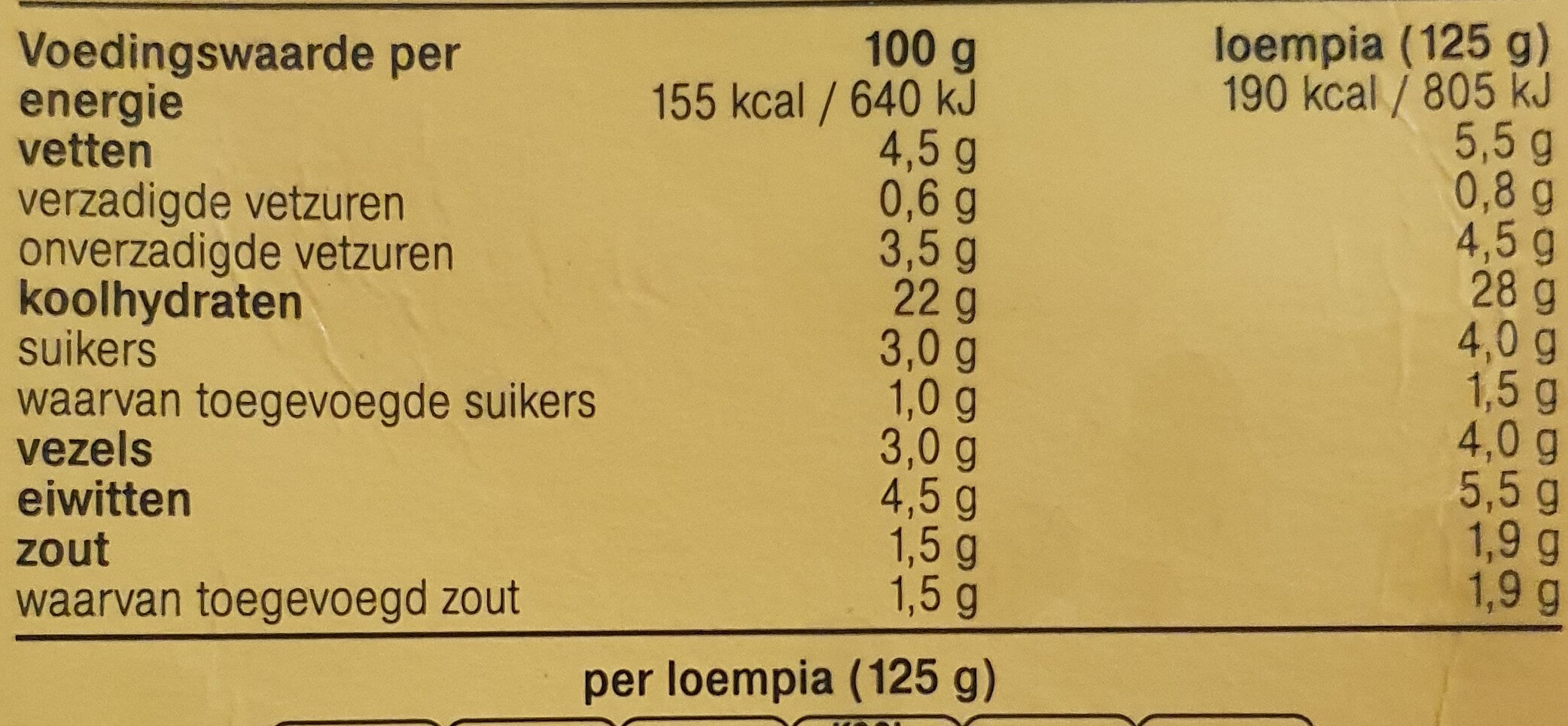 Groente Loempia - Voedingswaarden - nl