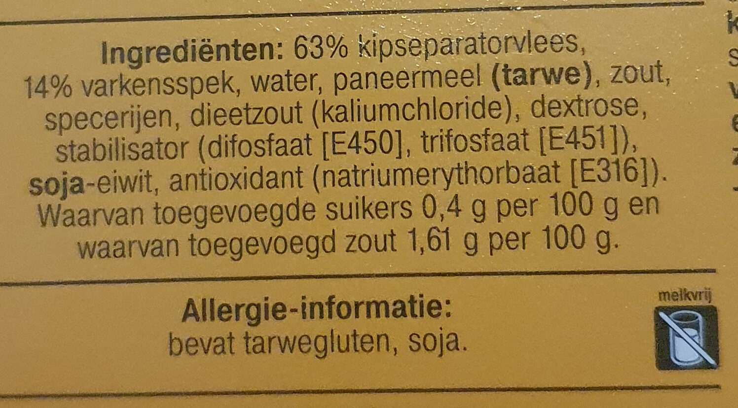 Snackbar Frikandel, extra groot - Ingrédients - nl