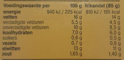 Snackbar Frikandel, extra groot - Informations nutritionnelles