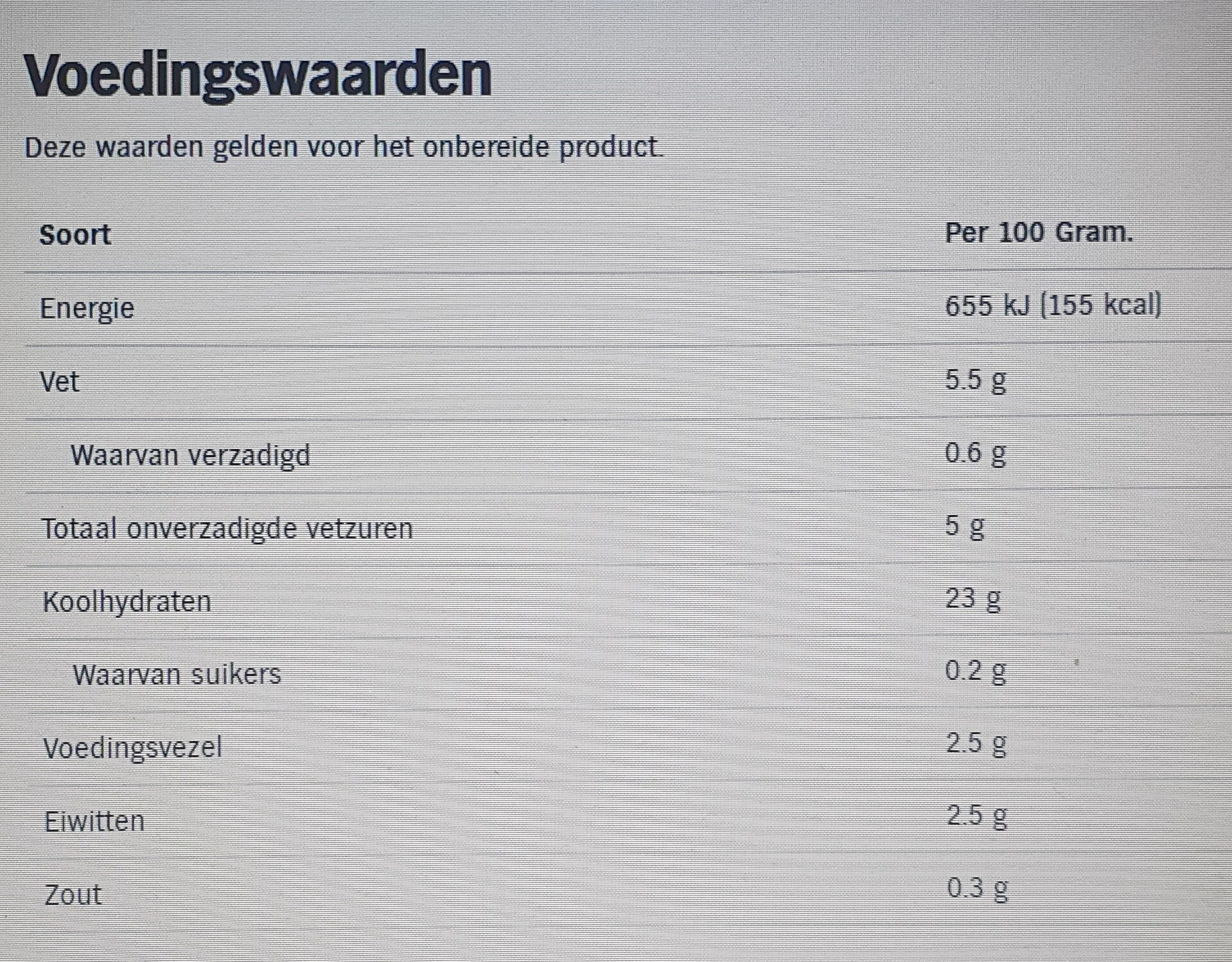 AH Ribbel friet - Voedingswaarden - nl