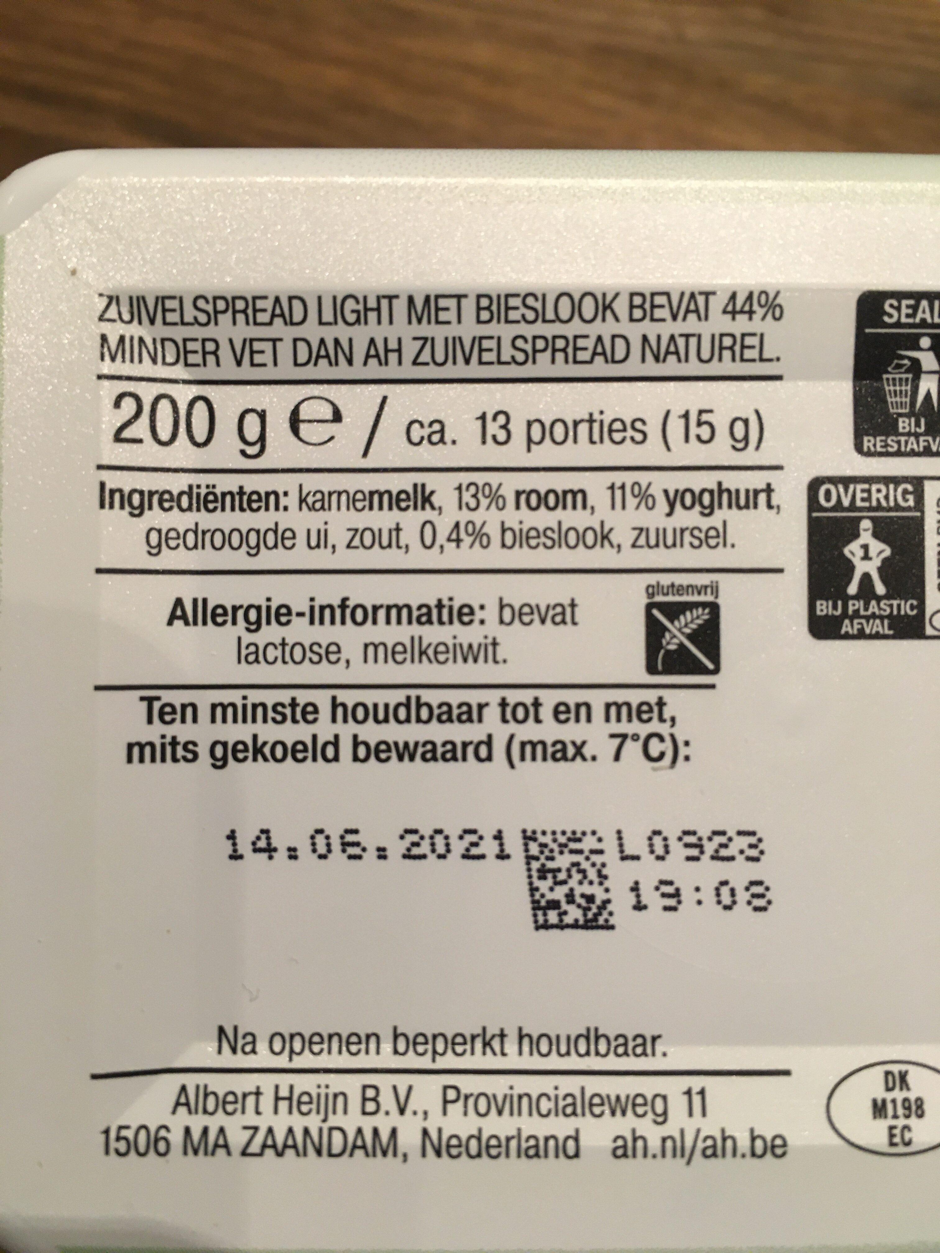 Zuivelspread Light met Bieslook - Ingredients - nl
