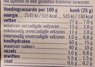 ChocChip Cookies Nougatelli - Nutrition facts - nl