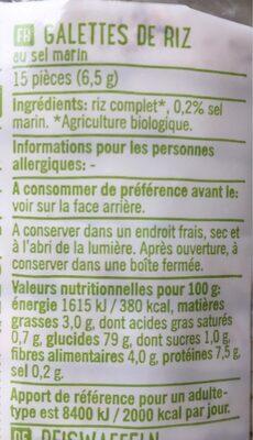 Rijstwafels  Met Zeezout - Ingredients