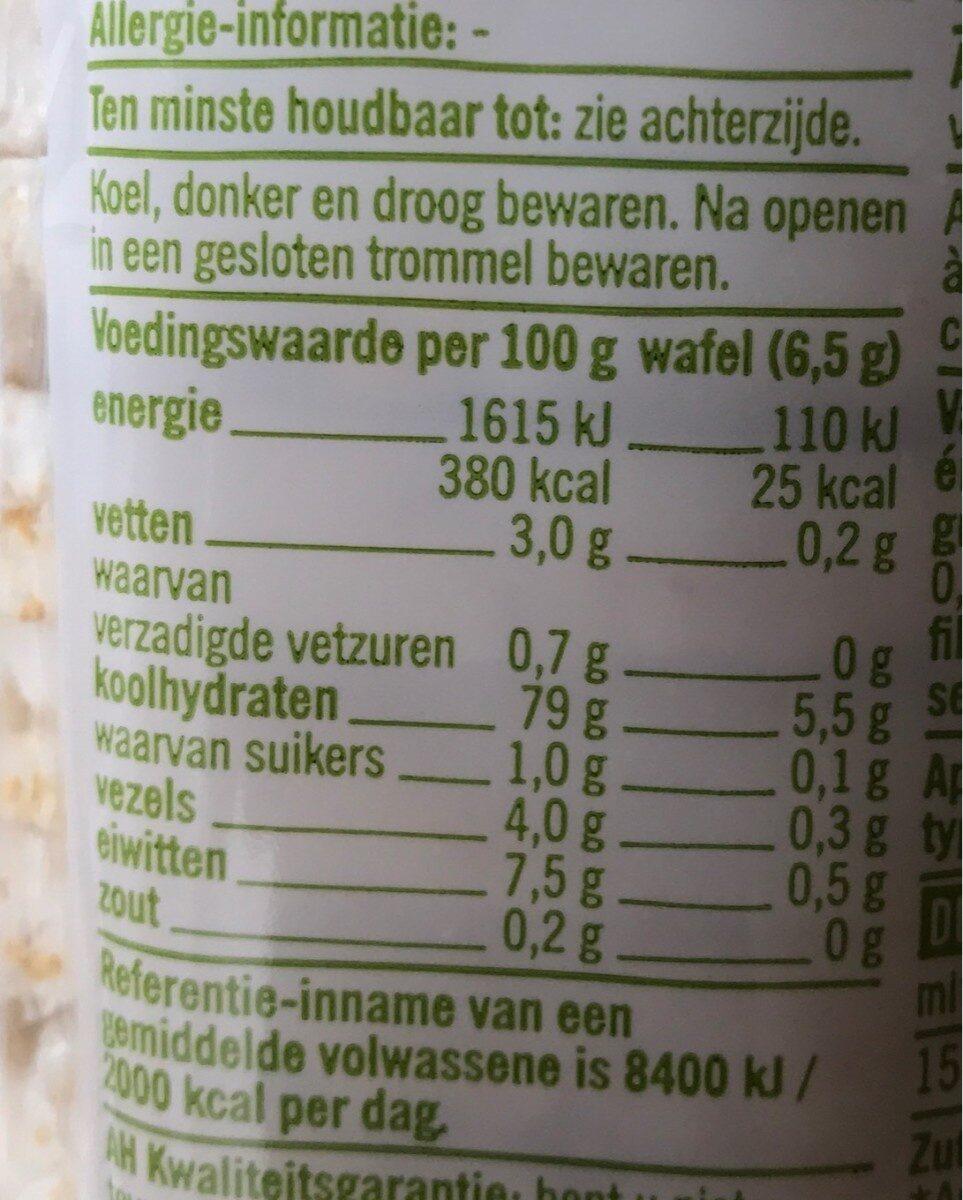 Rijstwafels met zeezout - Voedingswaarden - nl