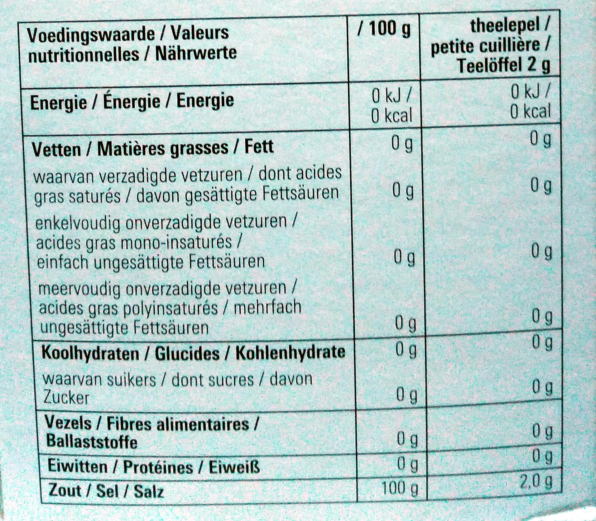Basic Zout - Voedingswaarden - nl
