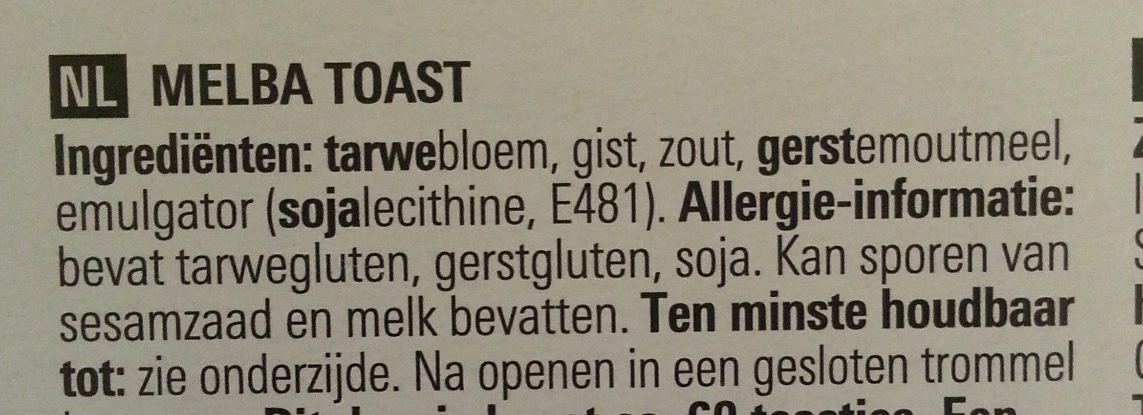 Basic Melba Toast - Ingrediënten - nl