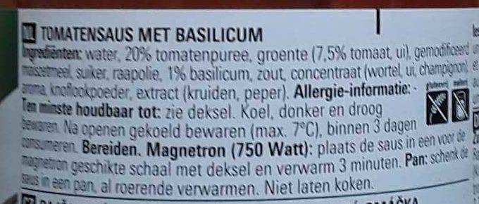Pasta sauce - Ingrediënten