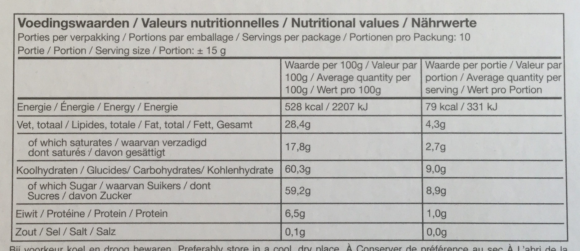 Chocolate tulips - Nutrition facts - en
