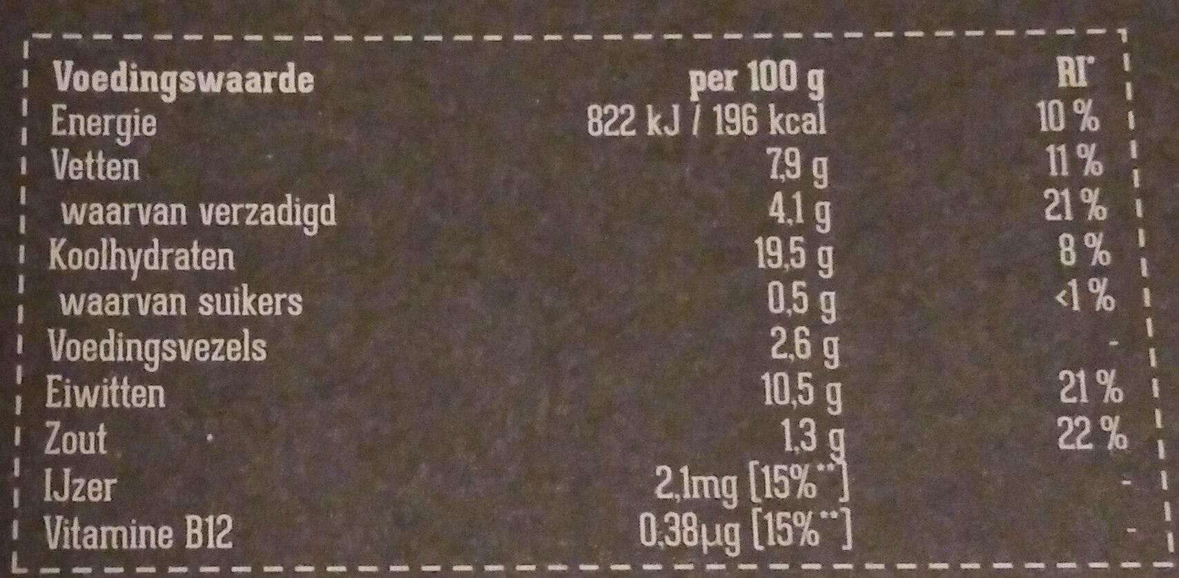 Spinazie Kaas Filet - Nutrition facts