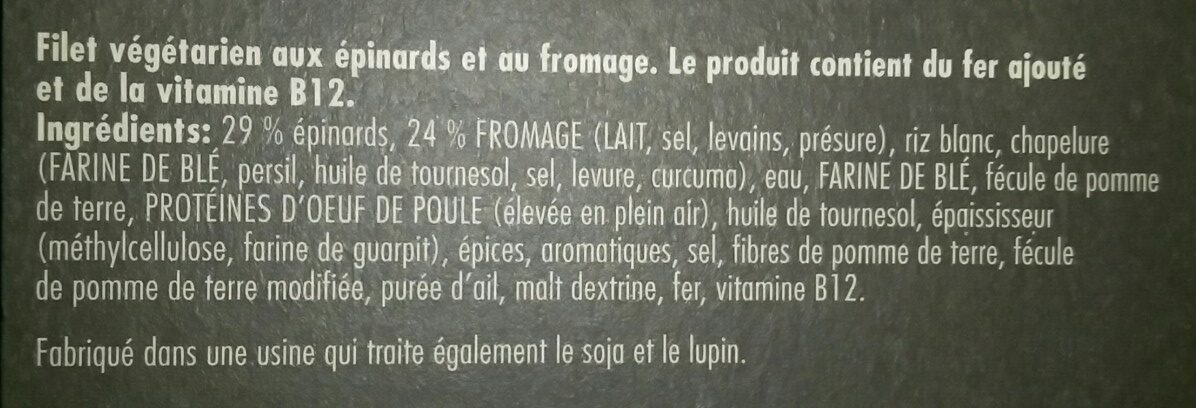 Filet aux épinards et au fromage - Ingrédients