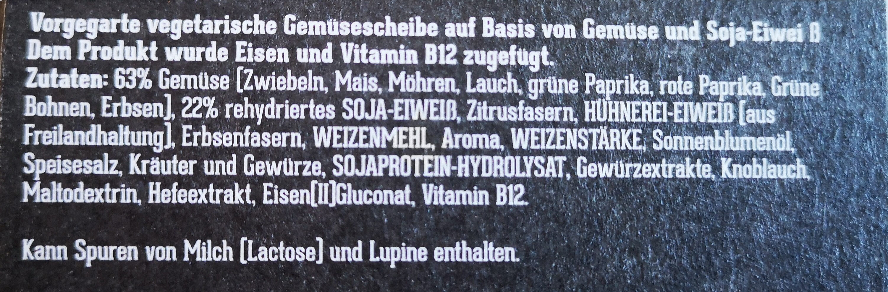 Vega Vegetarisch Gemüsescheibe - Ingredients
