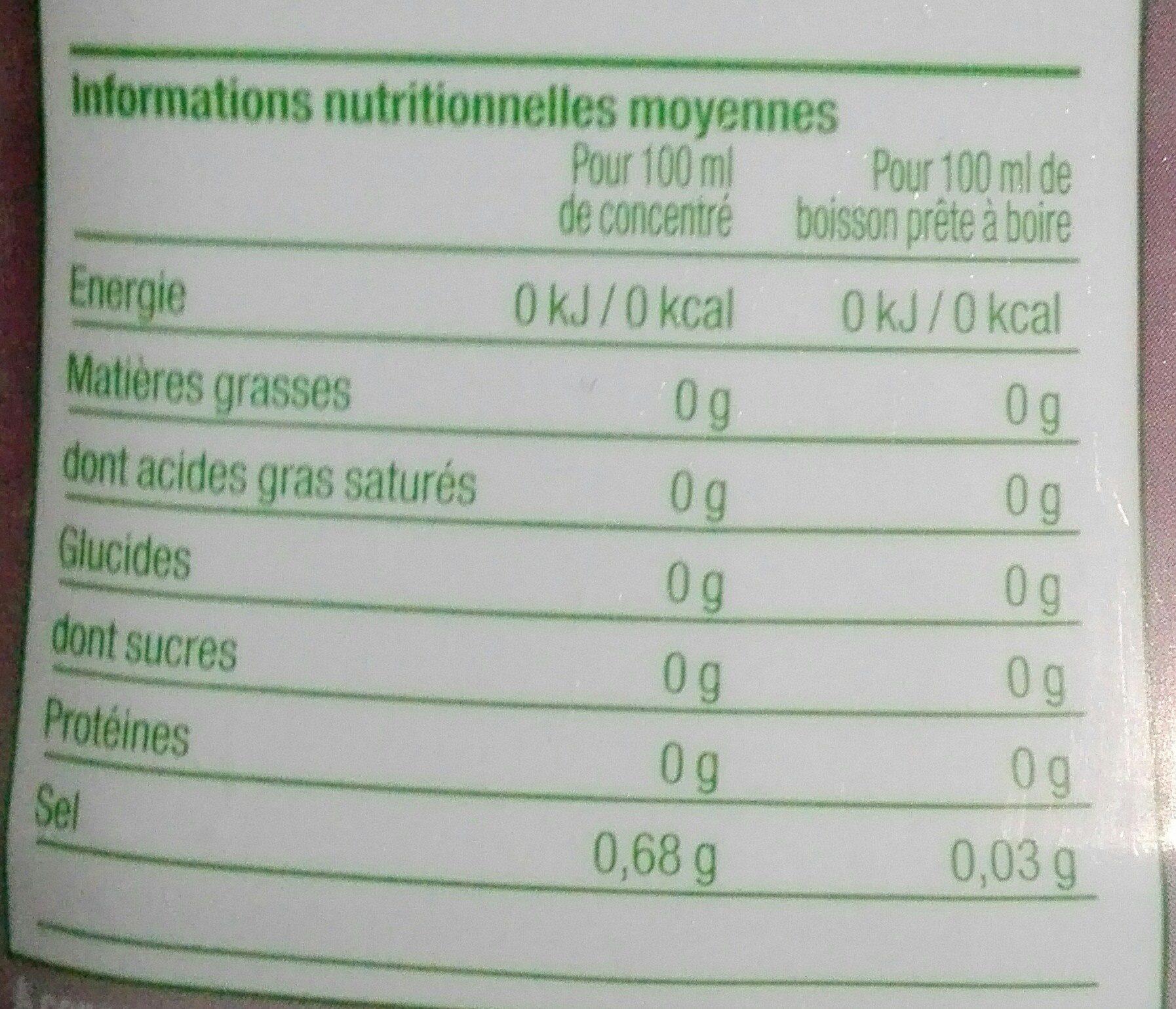Concentré saveur Thé Pêche Zéro - Informations nutritionnelles - fr
