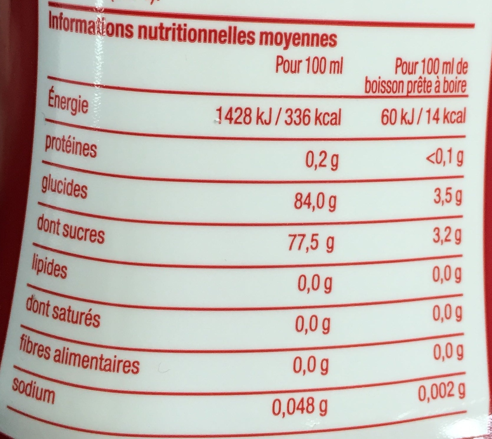 Concentré Saveur Cranberry Framboise - Informations nutritionnelles - fr