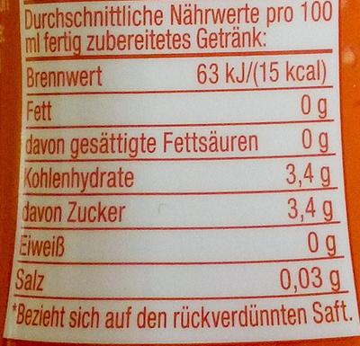 Pink Grapefruit-Geschmack - Informations nutritionnelles - de