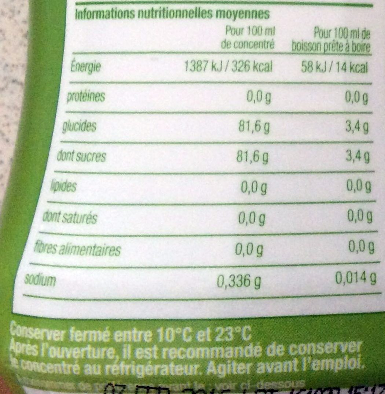 Concentré Saveur Limonade - Informations nutritionnelles - fr