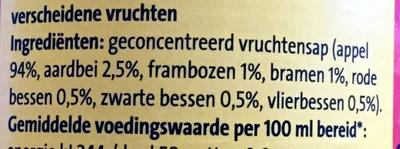 Diksap rood fruit - Ingrediënten - nl