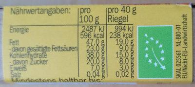 Lovechock amande figue - Informations nutritionnelles