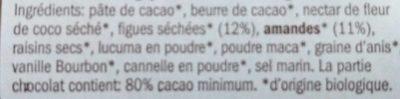 Organic Raw Chocolate Amande/Figue - Ingredients - fr
