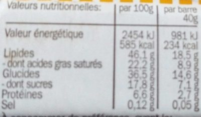 Organic Raw Chocolate Amande/Figue - Nutrition facts - fr