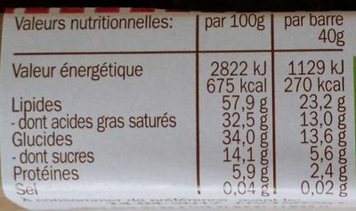 Organic Raw Chocolate Noir/Éclats - Nutrition facts - fr