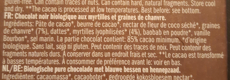 Chocolat Myrtille et Graines de Chanvre - Ingrediënten