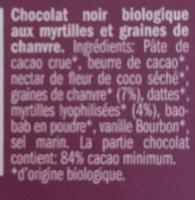 Chocolat 84% Myrtille Chanvre - Ingrédients - fr