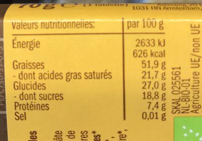 Chocolat cru biologique - Nutrition facts