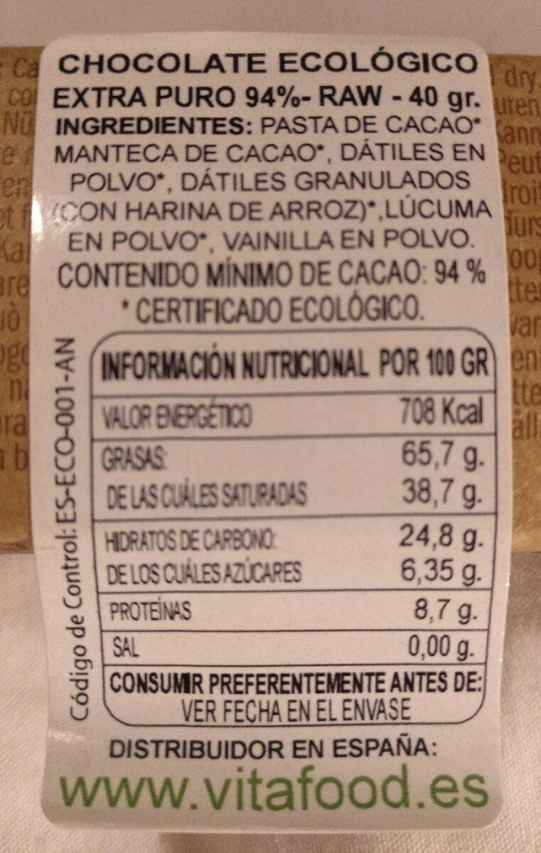LOVE chock - Información nutricional - es