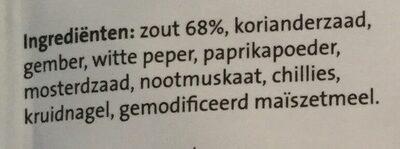 Kruidenmix voor Varkensvlees - Ingredientes - nl