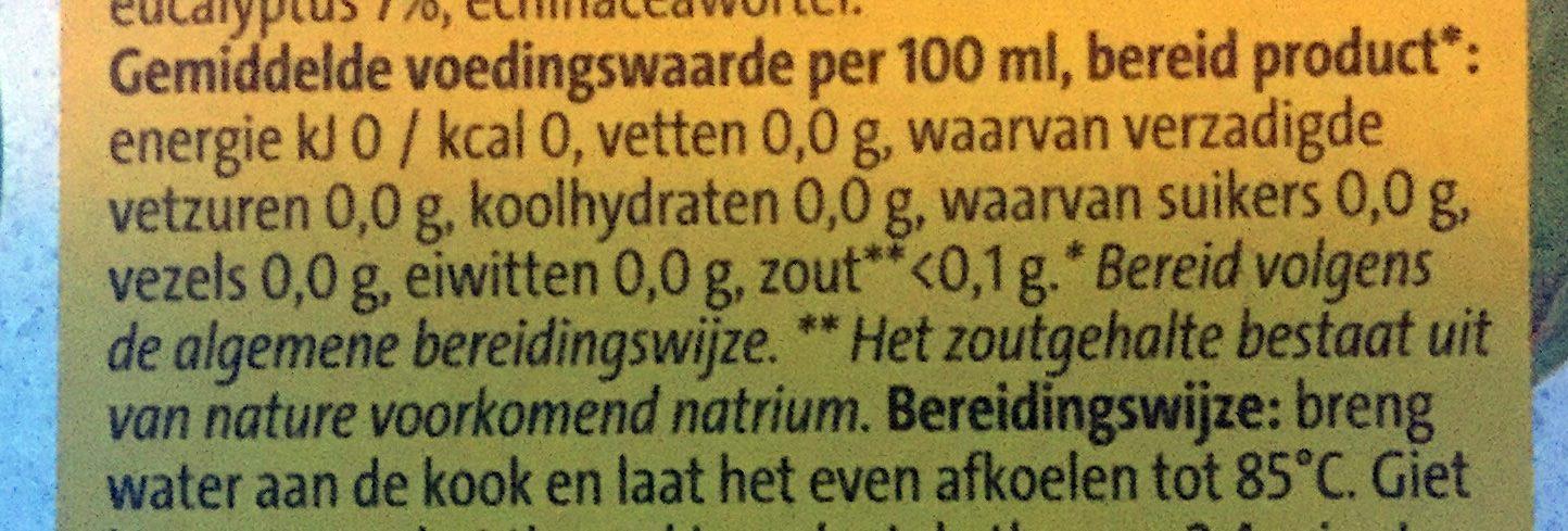 Weer & wind thee - Voedingswaarden - nl