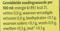 Witte wijnazijn - Voedingswaarden - nl