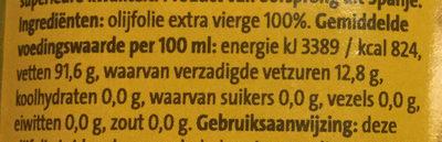 Extra vierge olijfolie - Voedingswaarden - nl