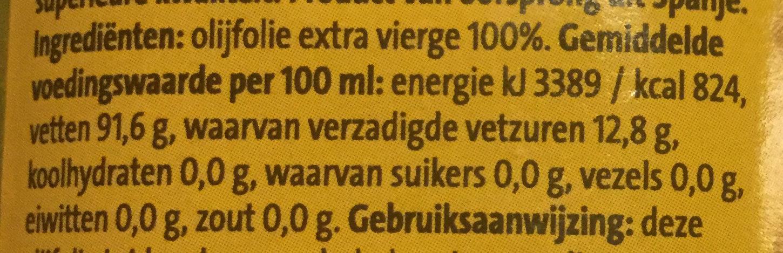 Extra vierge olijfolie - Voedingswaarden