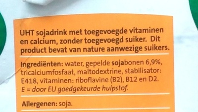 Jumbo Soya Drink Ongezoet - Ingrediënten - nl