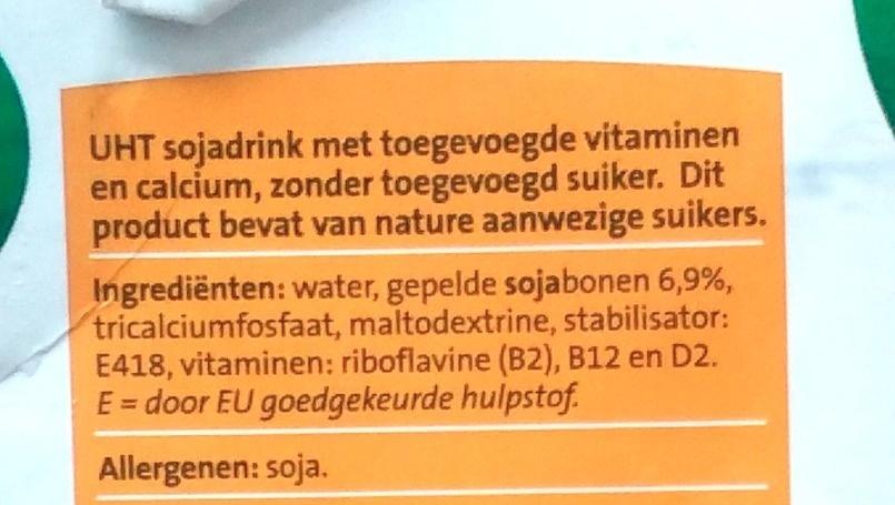 Jumbo Soya Drink Ongezoet - Ingredients - nl