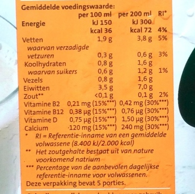Jumbo Soya Drink Ongezoet - Nutrition facts - nl