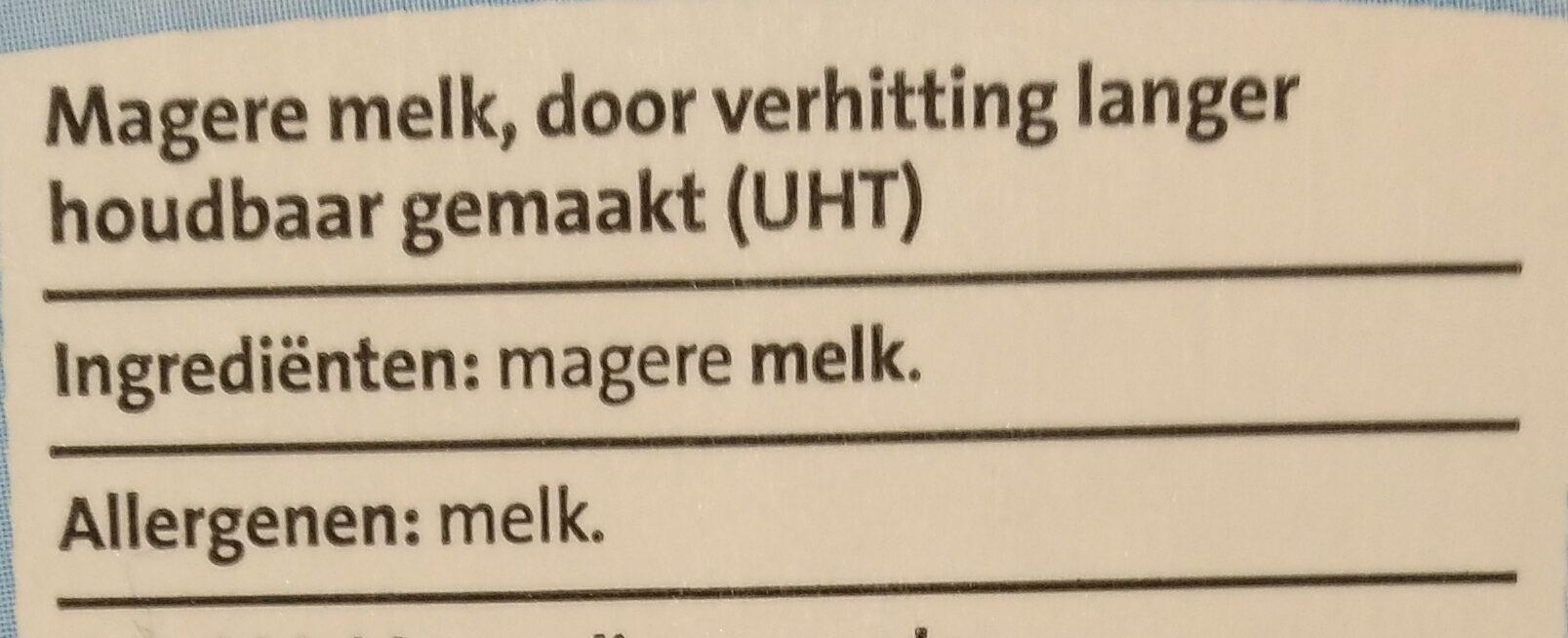 Houdbare magere melk - Ingrediënten