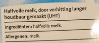 Houdbare half volle melk - Ingrediënten - nl
