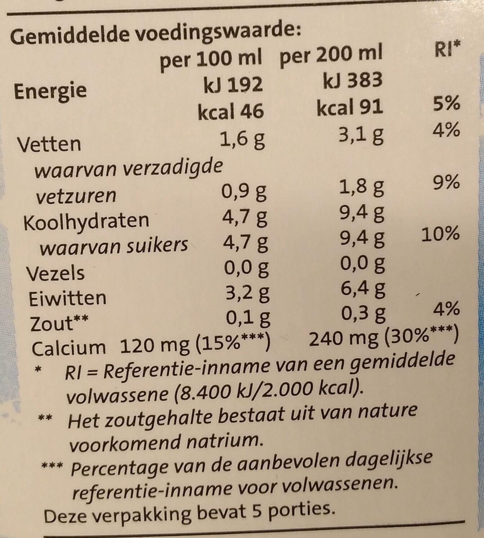 Houdbare half volle melk - Voedingswaarden - nl